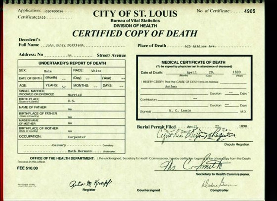 records vital morrison death louis st henry john mo